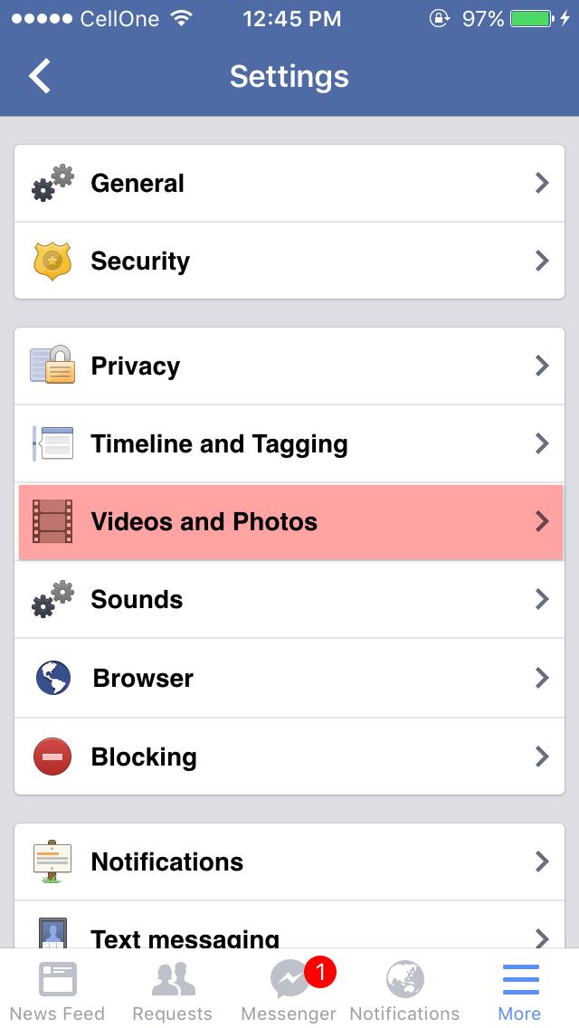 Turn Off Auto-play Facebook Videos on iPhone IOS 9.X.X 5